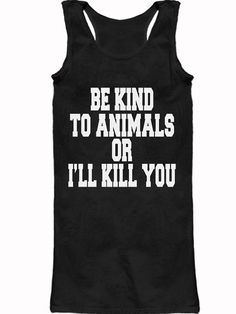 """Women's """"Be Kind To Animals"""" Racerback Tank Dress by The T-Shirt Whore (Black)"""
