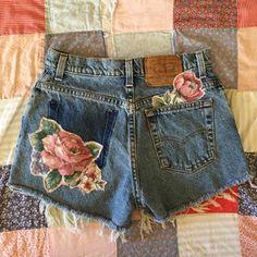 Reworked floral applique Vintage Levis jeans cut offs by MissDane
