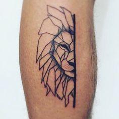 Half of a #geometric #lionhead #tattoo 🦁