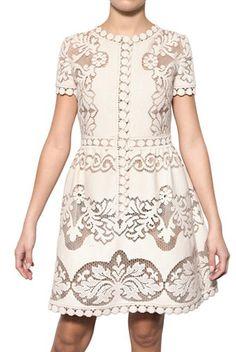 Valentino Cotton Guipure de Flandre Dress
