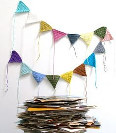 fun garland to make #crochet this is a good idea for leftover bits of yarn