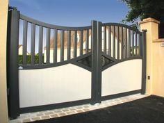 portail de jardin moderne en blanc et gris