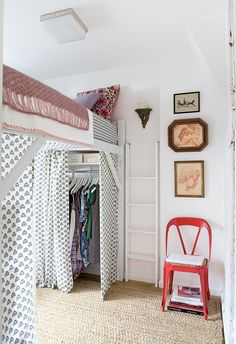 Loft beds are excellent space saving ideas for small rooms. Nothing better than a loft bed makes a small bedroom more spacious, functional and comfortable. Loft beds create extra space by building the bed upward and allowing the space below it to be Bedroom Loft, Girls Bedroom, Bedroom Decor, Bedroom Ideas, Master Bedroom, Bedroom Furniture, Bedroom Small, Raised Beds Bedroom, Furniture Ideas