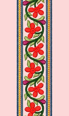 Lace Embroidery Design 12881 Embroidery Neck Designs, Embroidery Suits Design, Creative Embroidery, Rose Embroidery, Embroidery Patches, Embroidery Patterns, Hand Painted Sarees, Lace Painting, Bead Art
