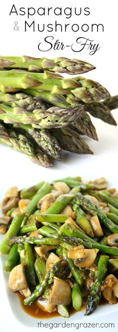 Yum! Quick asparagus and mushroom stir-fry with a scrumptious Asian garlic sauce. You can easily change it up with your own favorite veggies! (vegan, gluten-free)