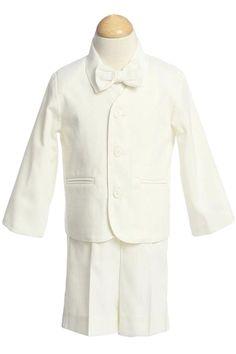 Ivory Eton Jacket & Shorts Outfit 4 Pc Suit (Infant or Toddler Boys)