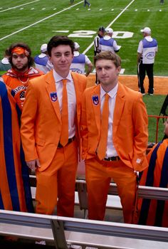 Adorable only begins to describe their fan gear. These two students arrived in their finest (Orange) suits. Rather than parading through the stadium smothered in war-paint, these boys cleaned up nicely and screamed their hearts out as Syracuse won the game.