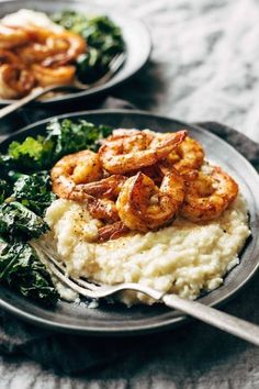 Spicy Shrimp and Cauliflower Mash With Garlic Kale.