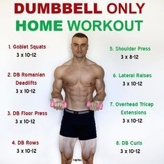 This is a full body workout that only utilises dumbbells. Depending on the weight of the dumbbells that you have access to, you may need to do higher reps in order for the exercises to be challenging. This is just one example and you could always incorpor Home Workout Men, Workout Plan For Men, Full Body Workout At Home, At Home Workouts, Men Exercise, Cardio Workouts For Men, Workout Plans, Workout Routines, 300 Workout