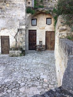 The entrance to our cave in Matera