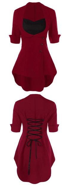 red top outfit for women High Low Hem Lace Up Blouse - here is where you  can find that Perfect Gift for Friends and Family Members a91cc49e9