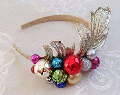 christmas headband adult ornament headband tacky by TinseledTiara