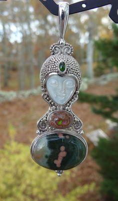 Sterling Silver, Fire Opal, Ocean Jasper Goddess Pendant! by Sajen Offerings!
