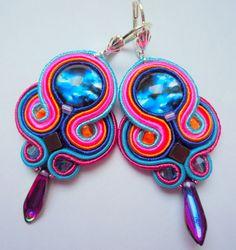 Soutache Earrings Colorful by SoutacheLand on Etsy