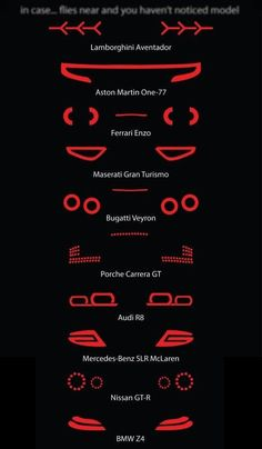 The tail lights of some super-cars like: Lamborghini Aventador, Aston Martin Ferrari Enzo, Maserati Gran Turismo, Bugatti Veyron, Porche Carrera GT Car Memes, Lamborghini Aventador, Audi R8, Audi 2017, Lamborghini Concept, Car Wheels, Steering Wheels, Mustang Wheels, Mustang Cars
