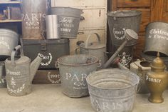 Stenciled buckets and such (from French Hen Farm)