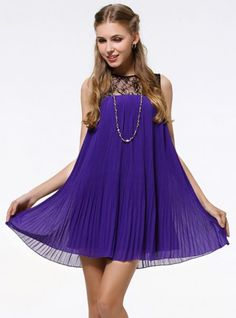Purple Lace Sleeveless Pleated Chiffon Princess Dress ($89, original price  $106.8) http://www.udobuy.com/goods-13629.html#.Us9mL9LEeeo