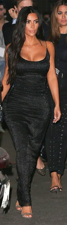 Who made  Kim Kardashian's sparkley black spaghetti maxi gown?
