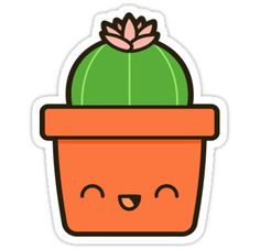"""Cactus with flower in cute pot"" Stickers by peppermintpopuk 
