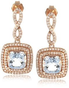 10k Pink Gold Double Frame Cushion Cut Aqua with Infinity Diamond Accent Drop Earrings (1/2cttw, I-J Color, I2-I3 Clarity) *** See this great product.