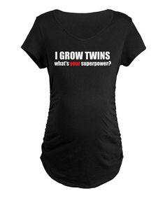 Black 'I Grow Twins' Maternity Tee - Women & Plus by CafePress on #zulily
