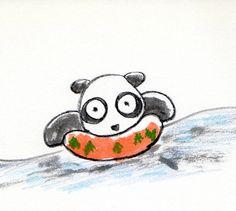 【一日一パンダ】 2014.7.18 海には3%の塩等が含まれているんだって。 たった3%であんなに塩っ辛いのかぁ。。。 塩が好きな人は気になるところだね。 #海