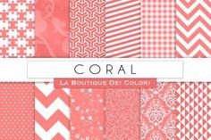 Coral Digital Papers by La Boutique dei Colori on @creativemarket