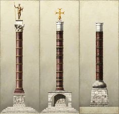 """""""Illustrations of triumphal columns of Byzantine Emperors in Constantinople: - Column of Constantine I AD 330 - Column of Arcadius AD 400 - Column of Leo I AD - Column of Justinian I AD Byzantine Architecture, Ancient Architecture, Ancient Rome, Ancient History, Battle Of Adrianople, Roman City, Medieval World, Hagia Sophia, Early Christian"""