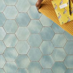 "Sample-Sasha HexagonBettina Blue Green 6"" Matte Porcelain Hexagon Tile Porcelain Hexagon Tile, Hex Tile, Hexagon Tiles, Bathroom Floor Tiles, Shower Floor, Wall Tiles, Pool Bathroom, Tropical Tile, Cleaning Tile Floors"