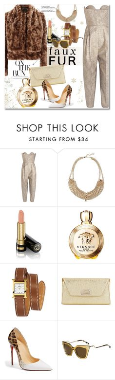 """""""Happy new year to all dear 2017"""" by vkmd ❤ liked on Polyvore featuring Delpozo, Valentino, Gucci, Versace, Hermès, Christian Louboutin, Fendi and fauxfurcoats"""