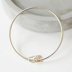 Handmade Sterling Silver Bangle with Silver and by morningmrmagpie