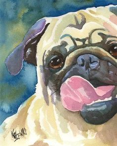 Pug Art Print of Original Watercolor Painting  by dogartstudio, $24.50