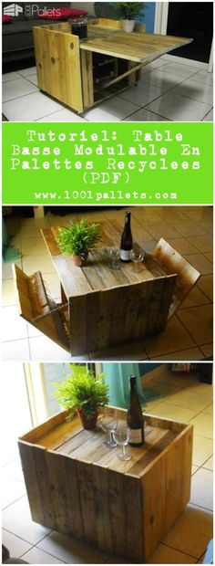 1000 images about repurposed pallets ideas projects on - Table basse modulable bois ...