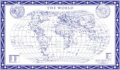World map - Blue Delft political wall map