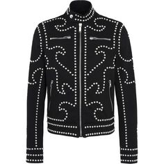 Moschino Jacket ($3,425) ❤ liked on Polyvore featuring men's fashion, men's clothing, men's outerwear, men's jackets, black, moschino mens jacket, mens cotton jacket, mens zipper jacket, mens zip jacket and mens studded jacket