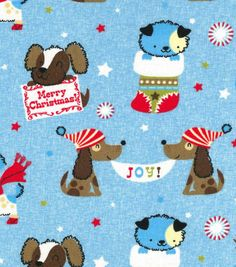 Holiday Inspirations™ Christmas Fabric-Christmas Puppies Blue