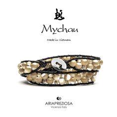Bracciale Mychau Vietnam Son La originale realizzato con pietre naturali MADREPERLA MARRONE su base bracciale colore Testa di Moro.