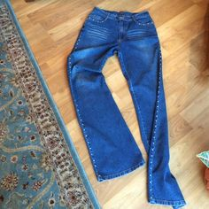 """Milana Jeans with Rhinestone Accent Boutique Jeans rise 11"""", waist 14"""" hips 18"""", length 43"""", rhinestone accent front pockets and aide of jeans, jeans are stretch Milana Jeans Straight Leg"""