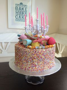 Sprinkles and sweeties cake. Hundreds and thousands.
