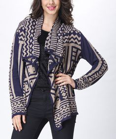 Look at this Simply Couture Navy & Cream Geometric Drape Cardigan on #zulily today!