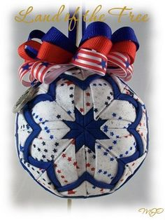 Quilted Ornament - Patriotic Land of the Free Unique Handmade Quilted Christmas Ornament. $18.00, via Etsy.