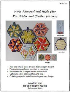 Hexie Pinwheel and Hexie Star Pot Holder & Coaster - via @Craftsy