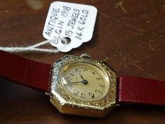 Antique 1918 Elgin 14k Gold Watch with a Hirsch 12mm leather band - Serviced! #Elgin #Dress