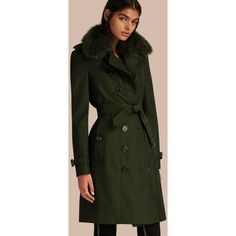 Burberry Cotton Gabardine Trench Coat With Detachable Fur Trim ($2,995) ❤ liked on Polyvore featuring outerwear, coats, green coat, slim coat, green trench coat, burberry trenchcoat and fur trim coat