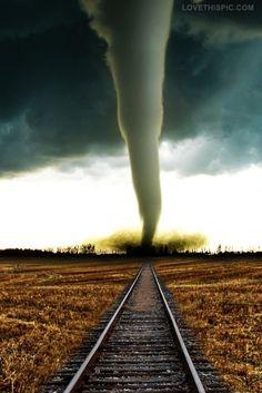 Tornado on the tracks photography rain storm sky clouds  nature