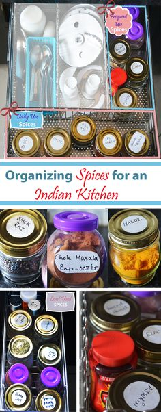 Organizing Spices in an Indian Kitchen Spice Organization, Organizing, Indian Kitchen, Kitchens, Spices, Dishes, Indian Cuisine, Plate, Kitchen