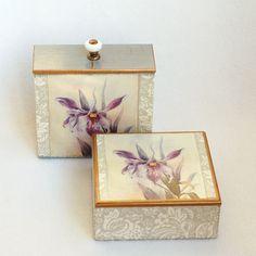 Купить Коробы для хранения Орхидея Виктория - короб для хранения, короб для кухни, Декупаж, розовый, орхидея