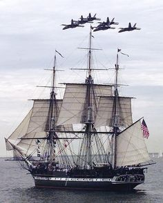 In this July 21, 1997 file photo, the Blue Angels fly in formation over the USS Constitution as she free sails off the coast of Marblehead, Mass., in celebration of her 200th birthday. On Sunday, the ship is scheduled to again raise sails to mark the day when it bested the HMS Guerriere in a fierce battle during War of 1812.
