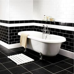 foto friday black brick tile white bathroom