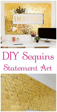 Box of Happies (a monthly subscription of handmade surprises shipped in a reusable craft box) LOVES DIY!:  DIY Sequins Statement Art YES!! A must do for my new office. Hmmm..maybe more one.